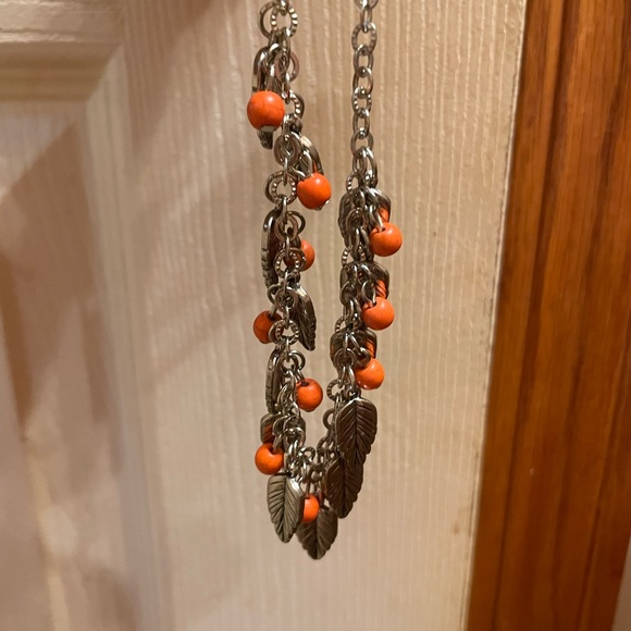 Orange and silver leaves necklace and earring set
